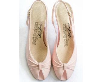 80s pink peep toe slingback pumps SIZE 6