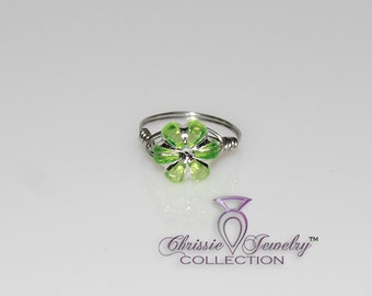 Handcrafted Green Lucite Acrylic Flower Little Girls Rings