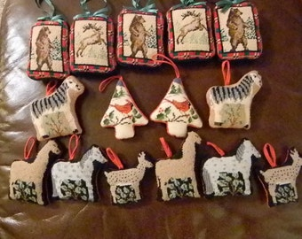 FIFTEEN Embroderied Holiday Christmas Tree Ornaments Animals Birds