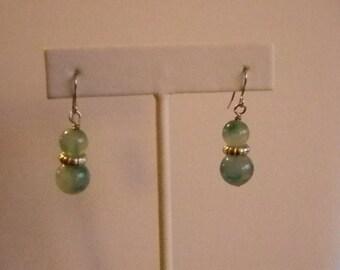 Silver Tone Green Beaded Dangle Pierced Earrings