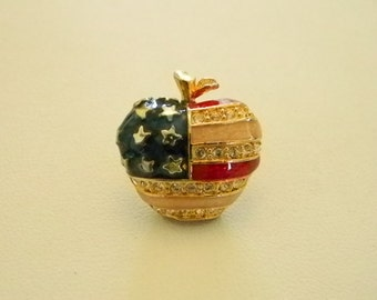 FREE SHIPPING !!    Red Peach Blue Patriotic Enamel Apple Tack Pin Brooch July 4th Holiday