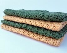 Crochet Cotton Washcloth (Set of 4) Country Yellow & Sage Green - Wash Rag - Spring Bathroom - Eco Friendly - Housewarming Gift - B03S