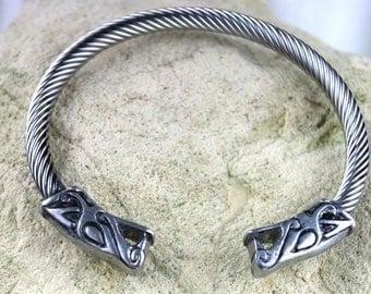 Pewter Wolf Head bracelet