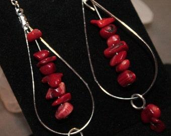 Red Coral Loop Earrings