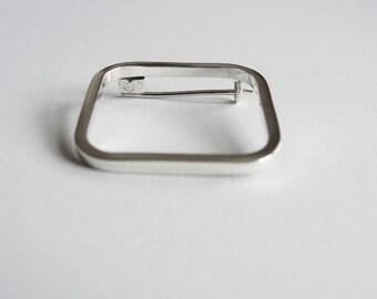 Square brooch, sterling silver brooch, basic brooch, modern brooch, minimalist brooch