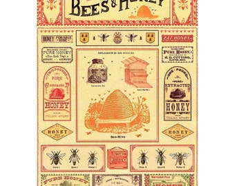 Bees & Honey Poster, Bees Poster, Bugs Poster, Bees Wall Decor, Bees Wall Poster, Vintage Honey Sign, Honey Sign, Honey Graphic, Bees