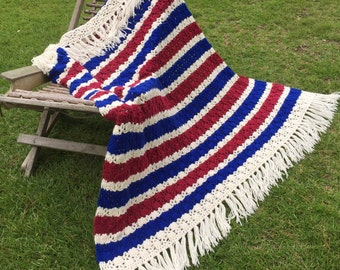 Red White Blue Vintage Afghan Americana Patriotic ReFabulousReVamped  ReFabulous