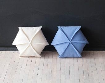 """Set of 2  Felt Pillow / Hexagon /Ivory & Blue/ Modern  Pillow / 18"""" x 18"""""""