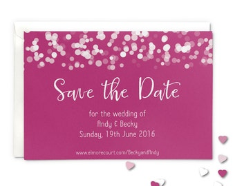 Save the date wedding magnet or card, hot pink glittering lights design
