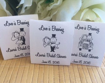 40 tea packets custom bridal shower favors bridal shower tea party bride