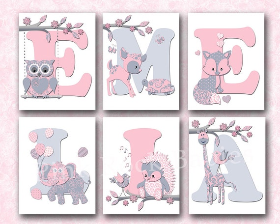 Personalized Nursery Letters Custom Wall Art Baby Girl Name