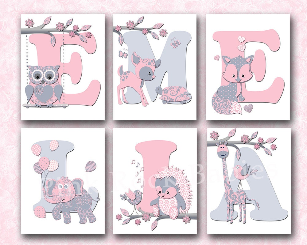 Personalized Wall Decor Letters : Personalized nursery letters custom wall art baby girl name