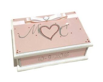 Wedding Wishes Keepsake Box, Trinket Box, Treasure Box, Jewellery Box, Bridal Box, Memory Box, Wooden Box, Wedding Box, Pink, Silver & White