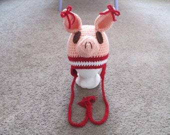 Crochted Inspired Olivia the Pig Crocheted Hat---Costume--- Fall/Winter Hat--Photo Prop---All Sizes Available