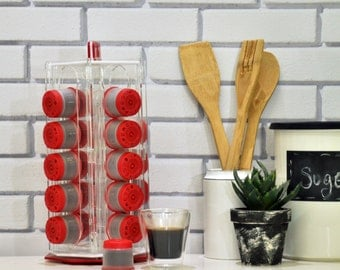 Red Illy Espresso Carousel Capsules Holder, Clear iperEspresso Rotate Coffee Pod Storage, Revolving Base Counter Top Rack, Coffee Lover Gift