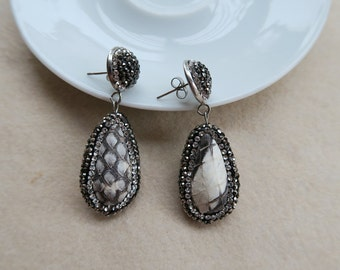 5Pairs/lot fashion druzy dyed Natural black&White Snakeskin Drop Dangle Earring, Pave Crystal Rhinestone Charm Jewelry Earrings E05