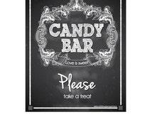 Wedding Candy Bar Sign  / Chalkboard Candy Bar Poster/ Chalkboard Wedding Candy Bar Sign / Wedding Candy Station Sign / Digital File