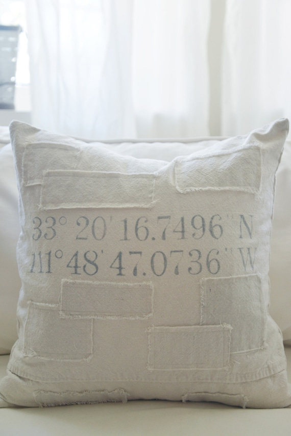 custom coordinates grain sack style pillow cover. Available in 16x16, 18x18, 20x20 and 16x26. patches are optional