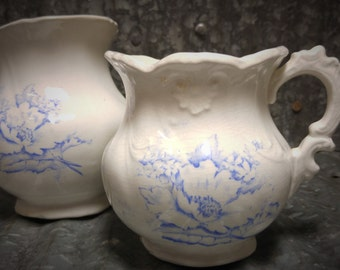 Set of 2 La Francaise Porcelain blue floral Vase and Pitcher
