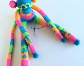 Sock Monkey-MLP-My Little Pony-Themed-Handmade-Monkey-Pink, Blue, Green, Orange-Plush-Plushie, Stuffed, Stuffed Animal