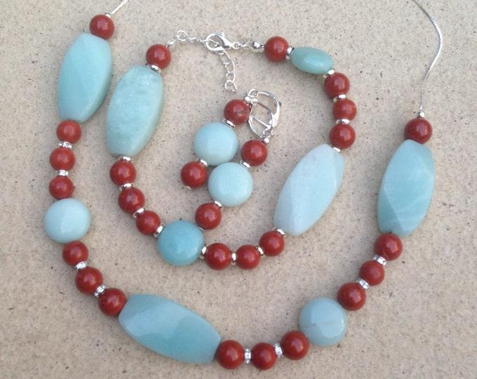 Amazonite and jasper jewellery set, Amazonite and jasper necklace, Amazonite and jasper bracelet, Amazonite and jasper earrings, Jewelry