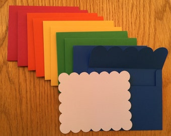 Rainbow cards, rainbow envelope and cloud note card, rainbow and cloud cards, blank cards, blank rainbow cards