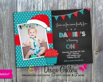 Winter Birthday Party Invitation, Holiday Birthday Party, Holiday Printable Invite, Boy Personalized Digital Invitation