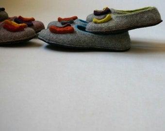 Women wool felt slippers, felted home shoes, felt slippers, eco slippers
