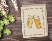 Cheers Around The World Folded Beer Card; Craft Beer, Greeting Card, Beer Sayings, Cheers Translation, Beer Lover, Just Because, Cool Card