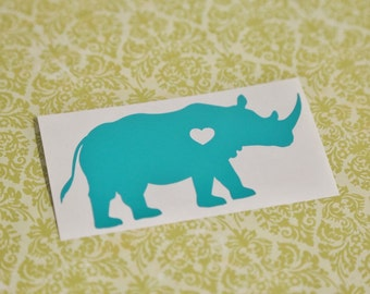 SUMMER SALE! Rhino w/ Heart Car Laptop Vinyl Decal Sticker