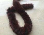 Burgundy Black  fox scarf.  Handmade sewed in round  shape.