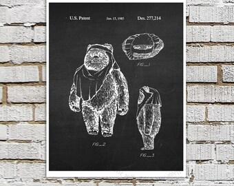 Star Wars print #22 Ewok Patent Poster, Star Wars Decor, Star Wars Boys Room Decor,  Star Wars Gift for Kids, Sci-Fi decor