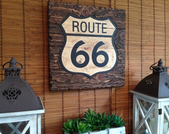 Wall Art, Route 66, Home Decor, Rustic Decor, Wood Wall Art, Wall Decor, Wall Hanging, Housewarming Gift, Birthday Gift, Vintage Poster