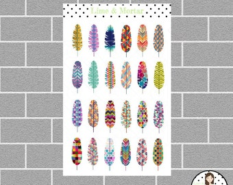 Patterned Feather Planner Stickers