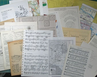 Bookpaper Illustrations assortment for mixed media art and papercrafting, 20 vintage sheets