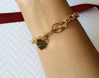 Large Link Chain Toggle Bracelet with Heart Charm