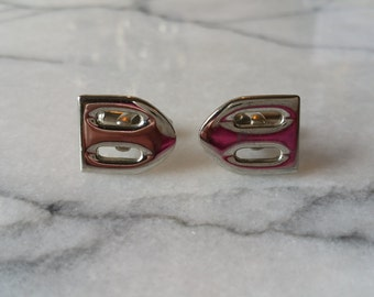 Vintage Men's Silver Buckle Style Cuff Links