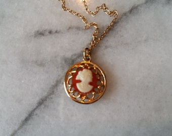 Vintage Gold Chain Necklace with Filigree Cameo Pendant