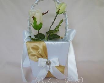 Flower girl basket, Gold flower girl basket, White and Gold flower girl basket, Wedding basket, Ivory and Gold flower girl basket