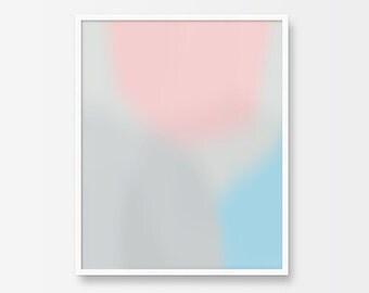 Abstract Art, Abstract Print, Printable Art, Pastel, Blue, Pink, Gray, Digital Abstract Art, Soft Abstract, Printable Wall Art, Modern Art