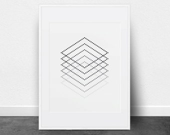 Printable Art, Geometric Cube Print, Black and White, Dashed Lines, Shades of Grey, Wall Art, Contemporary Geometric Printable Art