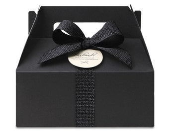 5 x Black Gable boxes / Medium size / paper box / chocolate box / cookie box / gift boxes / craft box / Cupcake box