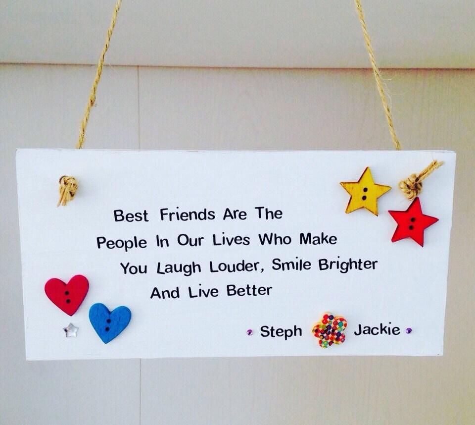 Best friend quote plaque : Personalised best friends quote handmade plaque friend