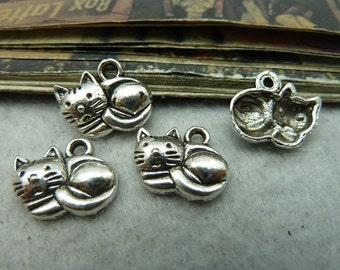BULK 50 Little Cat Charms Antique Silver Tone  -DYS6120