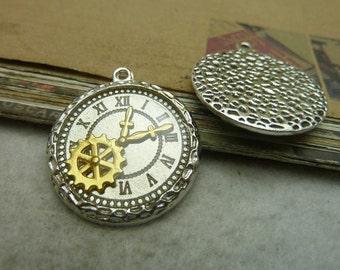 5 Clock Gear Charms Antique Silver Tone Clock Pendant - DYS7332