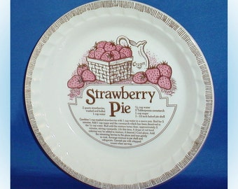 Royal China by Jeannette Strawberry Pie Recipe Dish 1970s