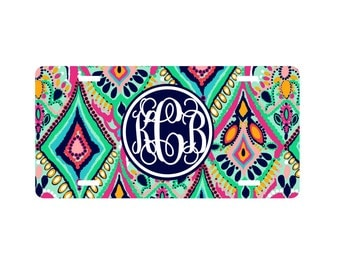 Lilly inspired, Floral jewel car tag license plate paisley personlized monogrammed car tag license plates, monogram car tag, birthday gift