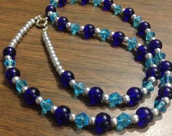 Beaded Cobalt necklace.