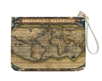 World Map - Vintage Map - Gift For Her - Map Clutch - Women handbag - Gold Zipper|KHG-076-Perfcase
