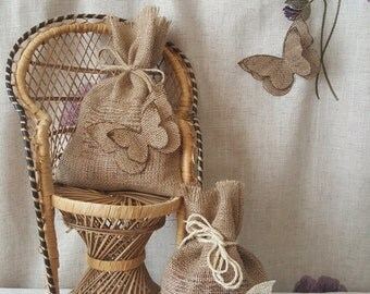 Hessian Jute Gift Bags with Butterfly